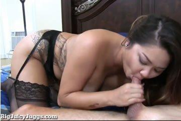 Busty asian girl jumps on her man's cock