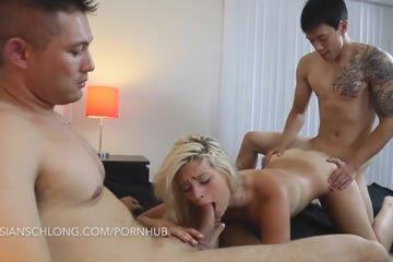 Blonde babe takes two asian dicks at once